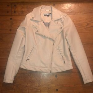 Steve Madden cream colored leather jacket